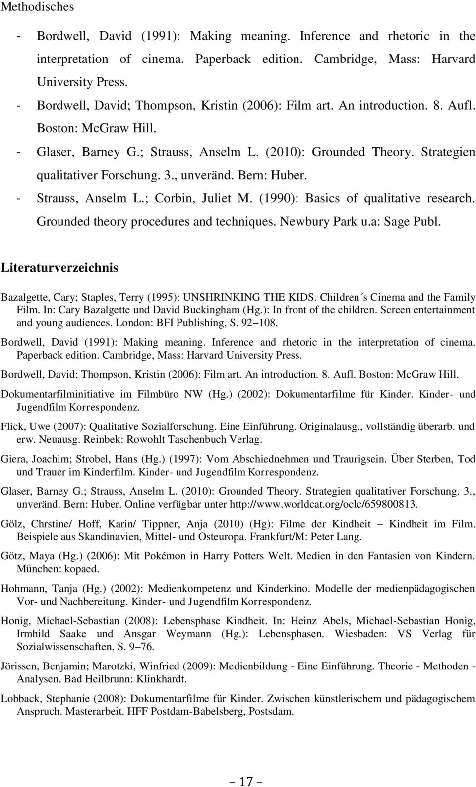 Strategien qualitativer Forschung. 3., unveränd. Bern: Huber. - Strauss, Anselm L.; Corbin, Juliet M. (1990): Basics of qualitative research. Grounded theory procedures and techniques. Newbury Park u.
