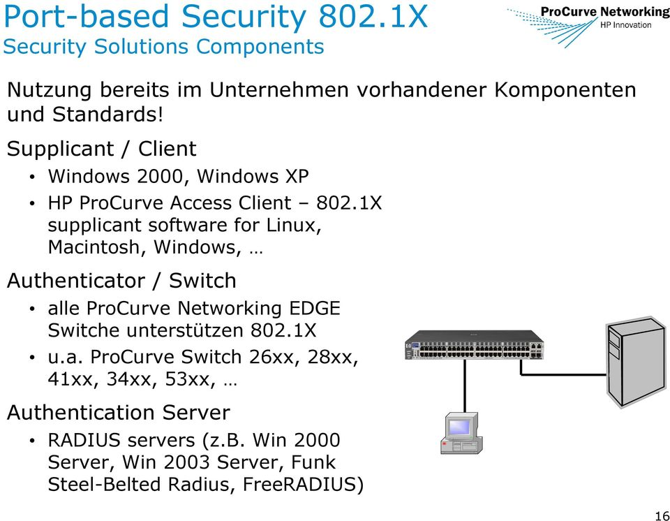 1X supplicant software for Linux, Macintosh, Windows, Authenticator / Switch alle ProCurve Networking EDGE Switche