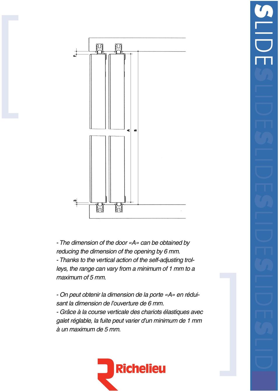 - The dimension of the door «A» can be obtained by reducing the dimension of the opening by 6 mm.
