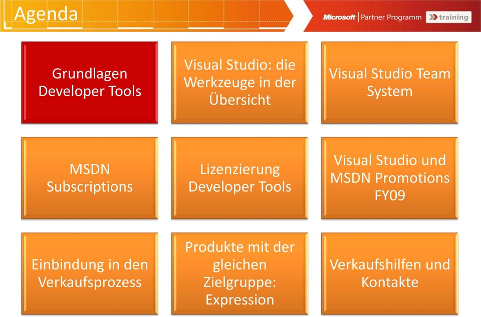 Developer Tools Visual Studio und MSDN Promotions FY09 Einbindung in den