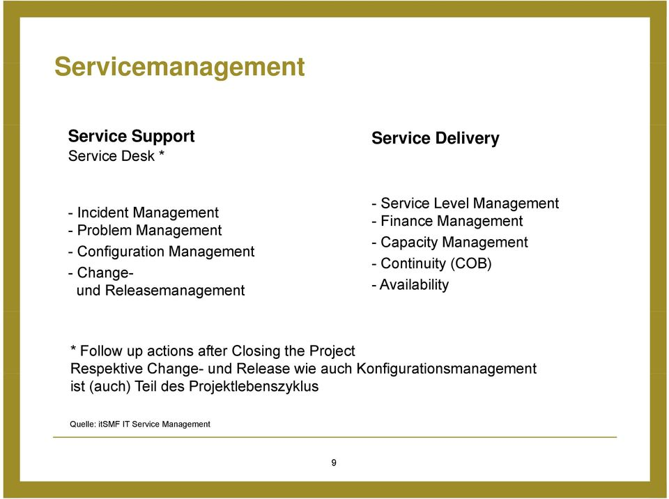 Management - Continuity (COB) - Availability * Follow up actions after Closing the Project Respektive Change- und