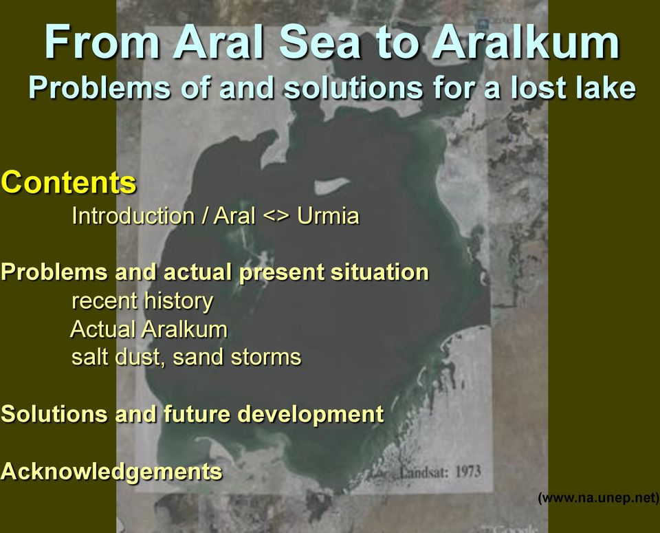 present situation recent history Actual Aralkum salt dust, sand