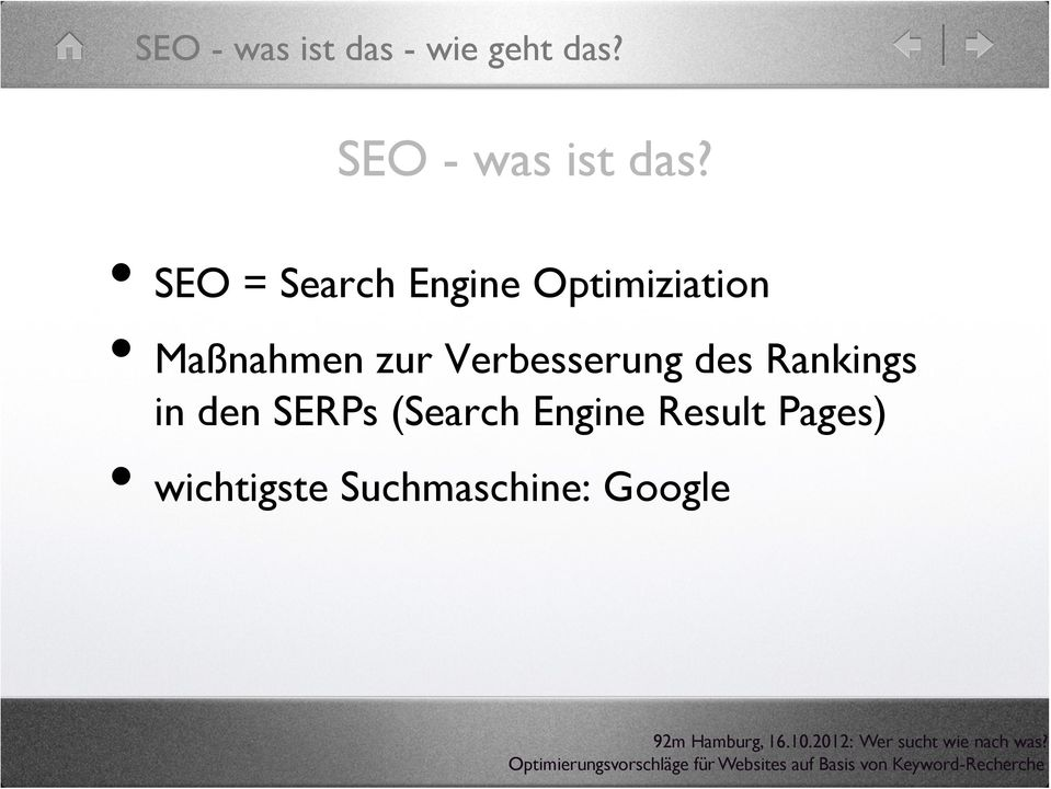 SEO = Search Engine Optimiziation Maßnahmen zur