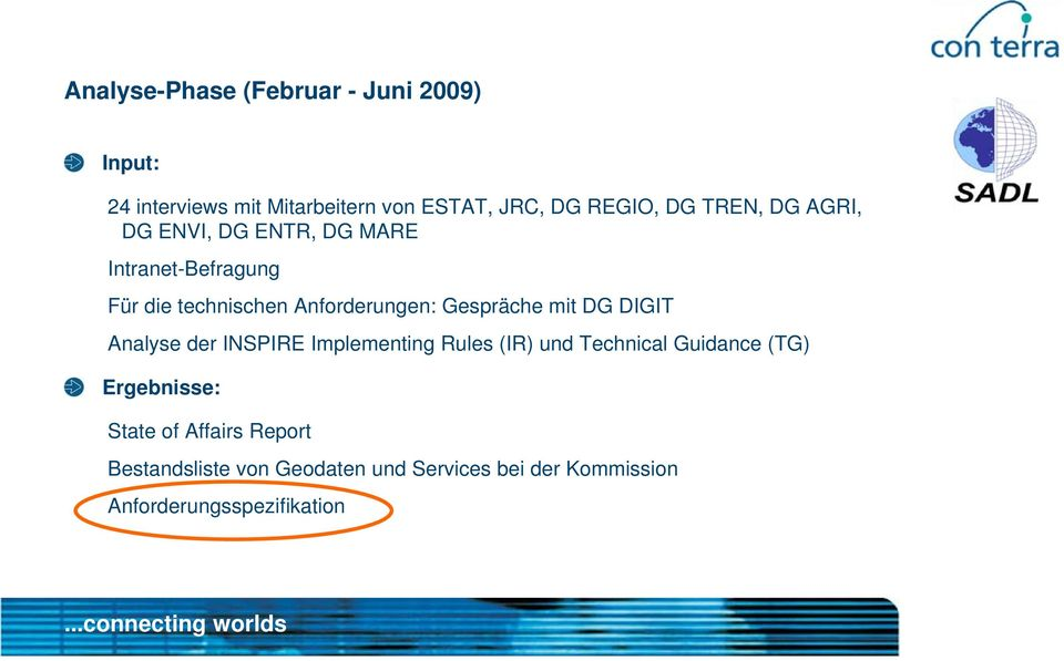 Gespräche mit DG DIGIT Analyse der INSPIRE Implementing Rules (IR) und Technical Guidance (TG)