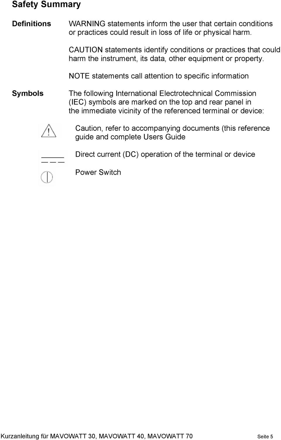 NOTE statements call attention to specific information Symbols The following International Electrotechnical Commission (IEC) symbols are marked on the top and rear panel in the