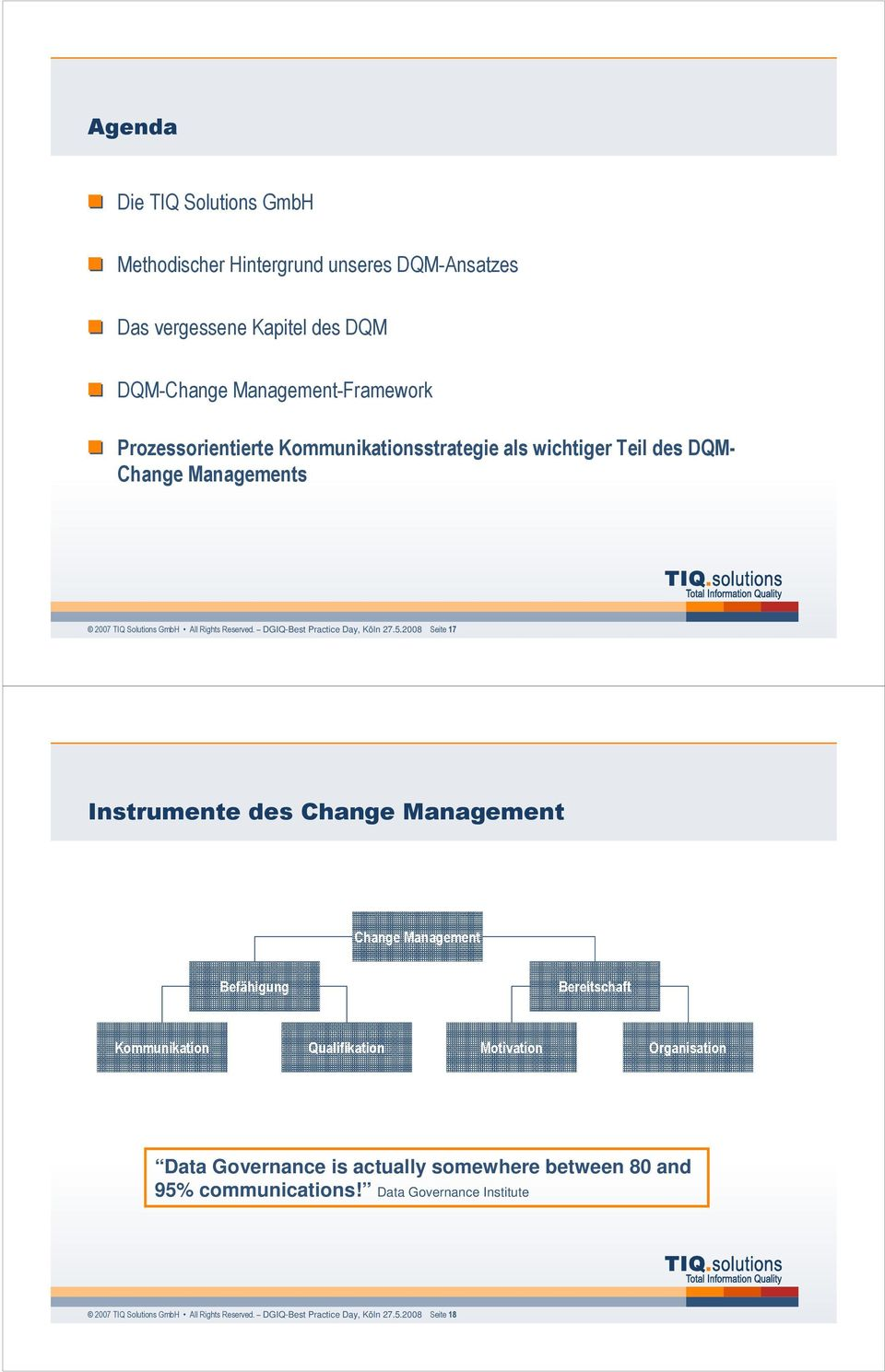 2008 Seite 17 Instrumente des Change Management Change Management Befähigung Bereitschaft Kommunikation Qualifikation Motivation Organisation Data Governance is