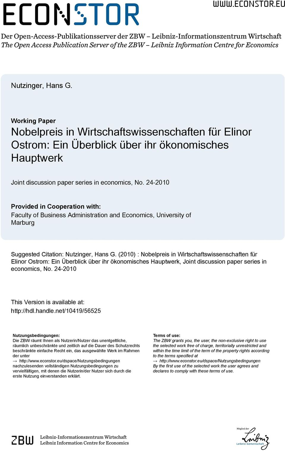 24-2010 Provided in Cooperation with: Faculty of Business Administration and Economics, University of Marburg Suggested Citation: Nutzinger, Hans G.