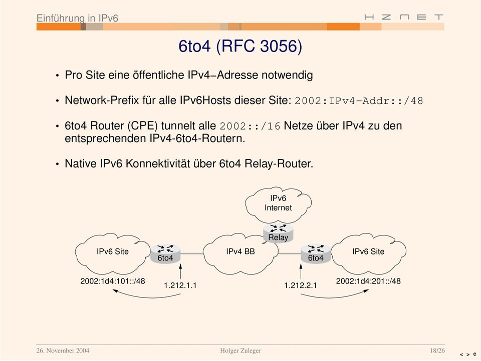 IPv4-6to4-Routern. Native IPv6 Konnektivität über 6to4 Relay-Router.