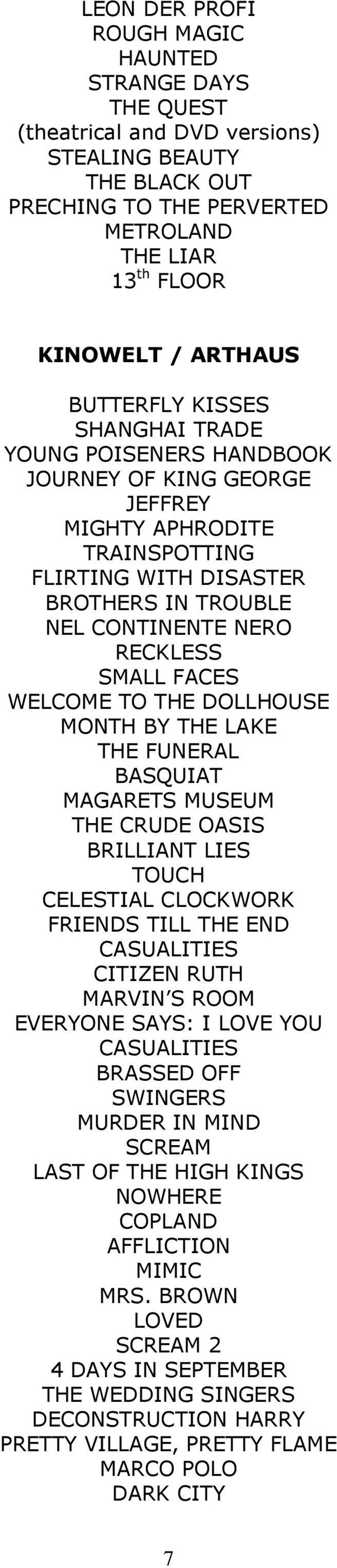 MONTH BY THE LAKE THE FUNERAL BASQUIAT MAGARETS MUSEUM THE CRUDE OASIS BRILLIANT LIES TOUCH CELESTIAL CLOCKWORK FRIENDS TILL THE END CASUALITIES CITIZEN RUTH MARVIN S ROOM EVERYONE SAYS: I LOVE YOU