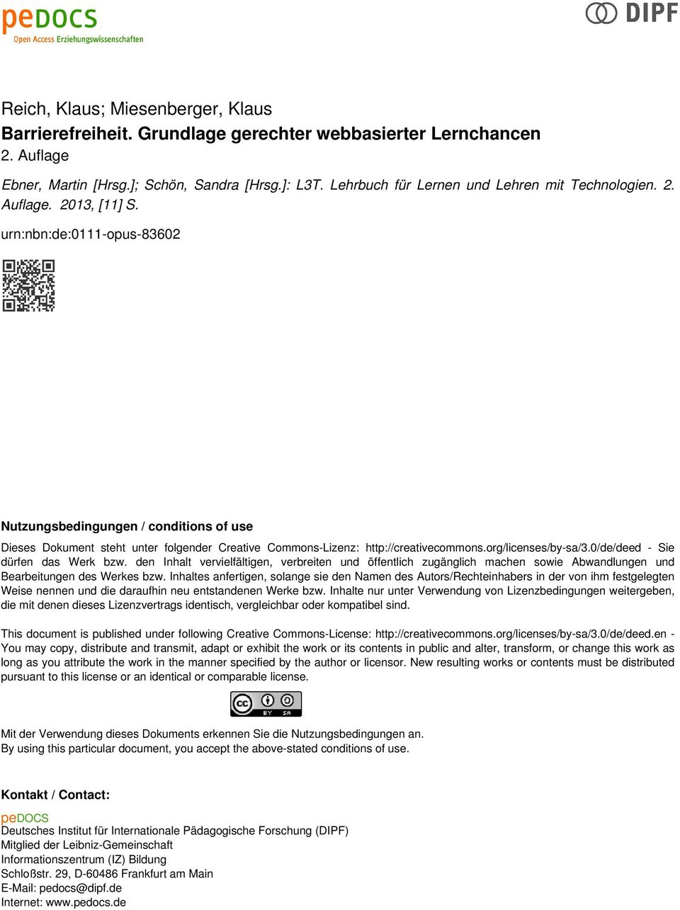 urn:nbn:de:0111-opus-83602 Nutzungsbedingungen / conditions of use Dieses Dokument steht unter folgender Creative Commons-Lizenz: http://creativecommons.org/licenses/by-sa/3.