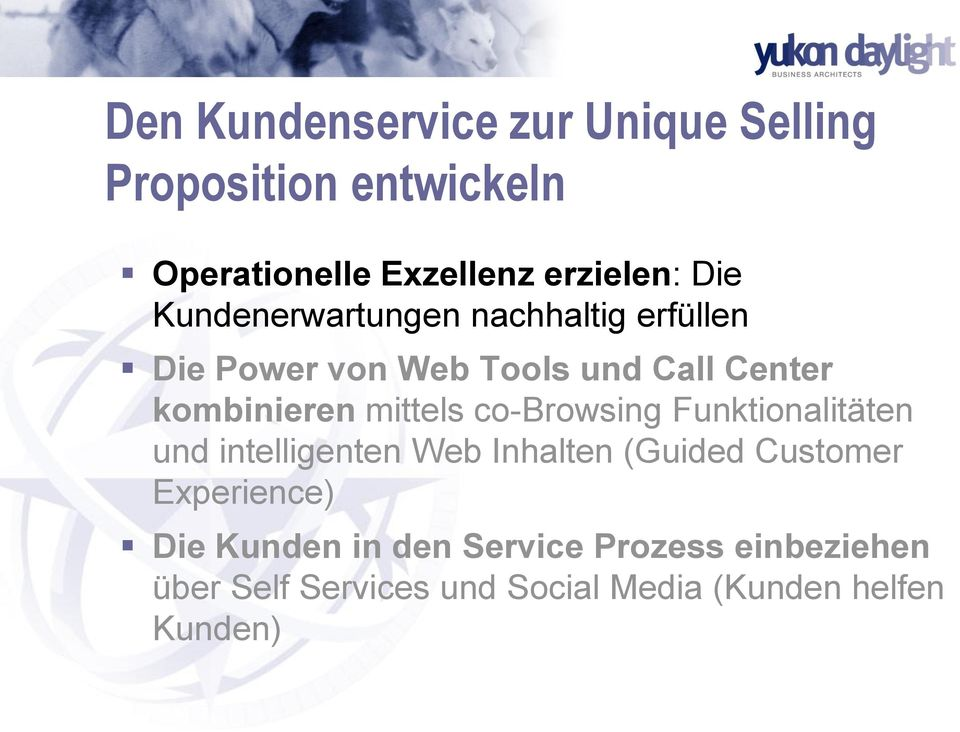 co-browsing Funktionalitäten und intelligenten Web Inhalten (Guided Customer Experience) Die