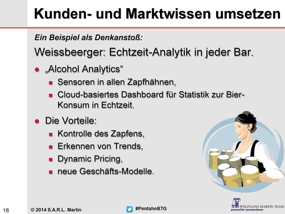 Alcohol Analytics Sensoren in allen Zapfhähnen, Cloud-basiertes Dashboard für