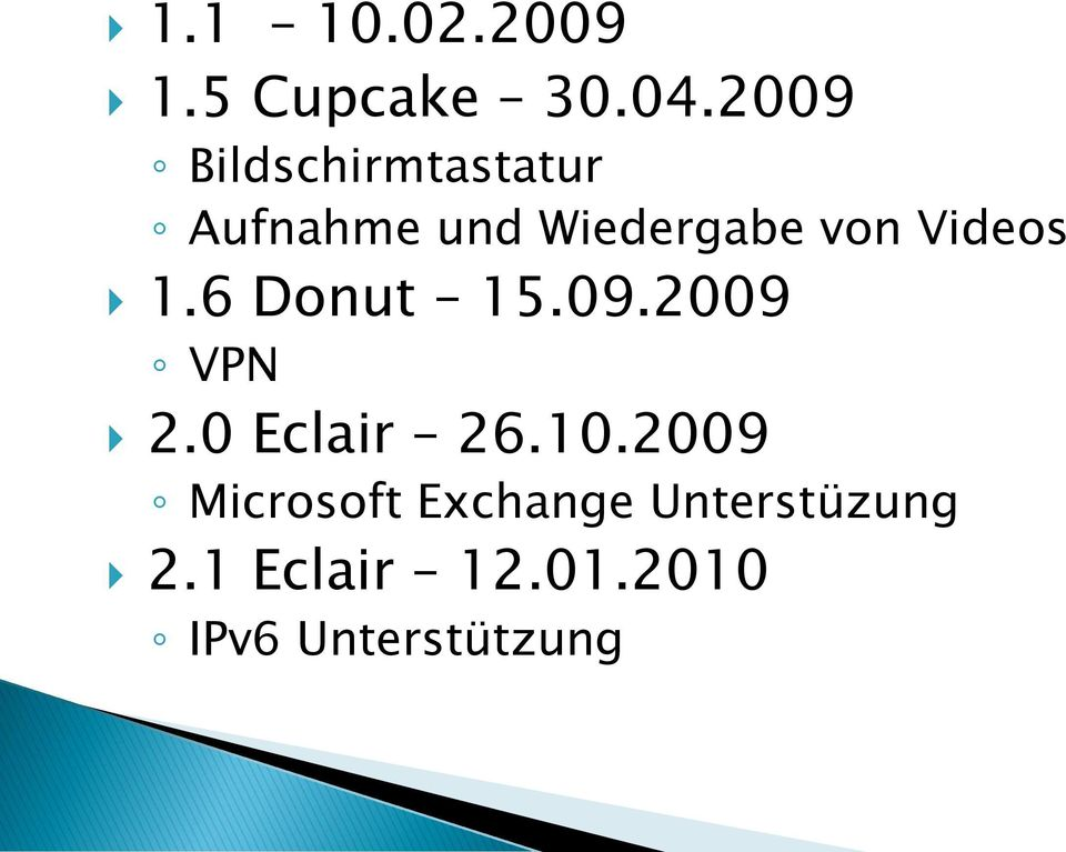 Videos 1.6 Donut 15.09.2009 VPN 2.0 Eclair 26.10.