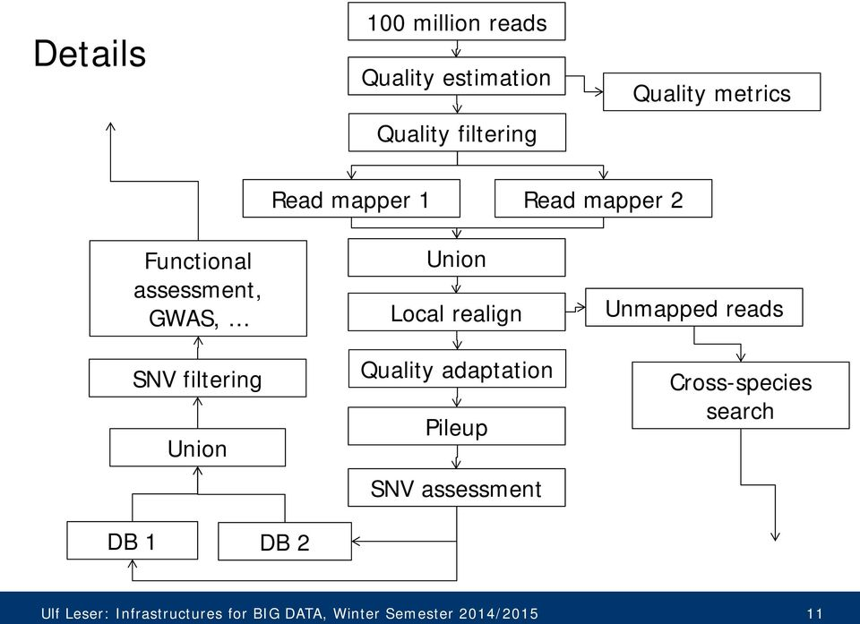 Unmapped reads SNV filtering Union Quality adaptation Pileup SNV assessment