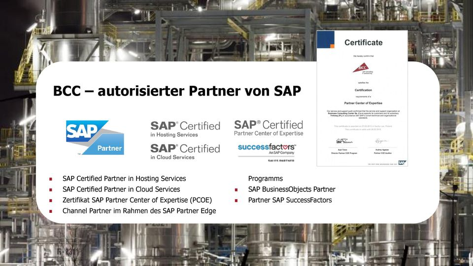 Expertise (PCOE) Channel Partner im Rahmen des SAP Partner Edge Programms