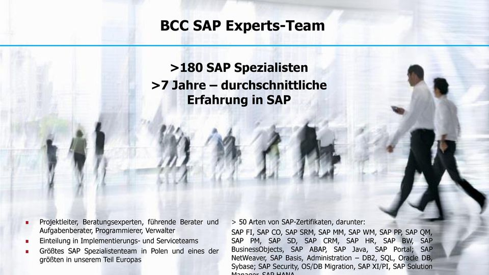 Arten von SAP-Zertifikaten, darunter: SAP FI, SAP CO, SAP SRM, SAP MM, SAP WM, SAP PP, SAP QM, SAP PM, SAP SD, SAP CRM, SAP HR, SAP BW, SAP BusinessObjects, SAP