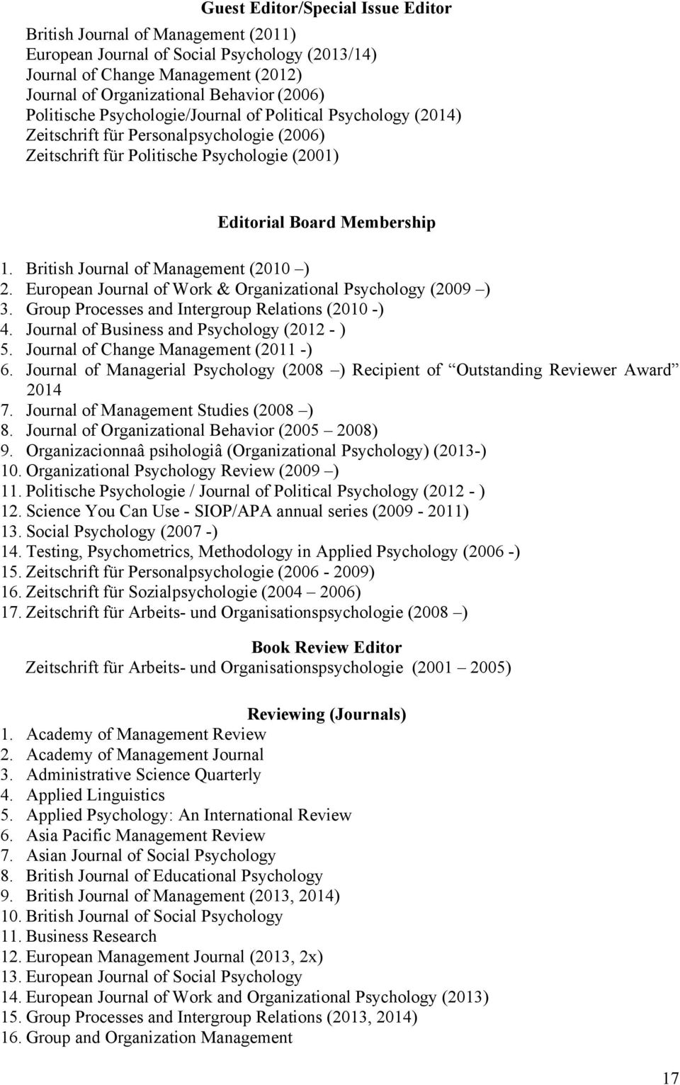 British Journal of Management (2010 ) 2. European Journal of Work & Organizational Psychology (2009 ) 3. Group Processes and Intergroup Relations (2010 -) 4.