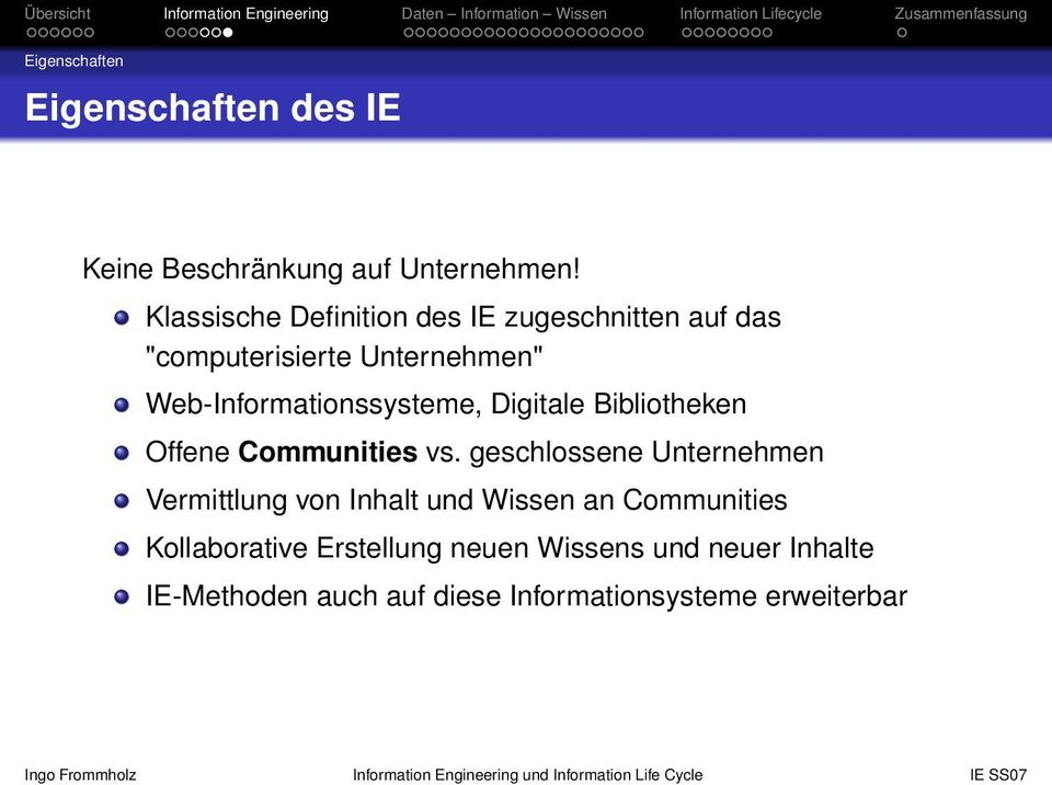 Web-Informationssysteme, Digitale Bibliotheken Offene Communities vs.