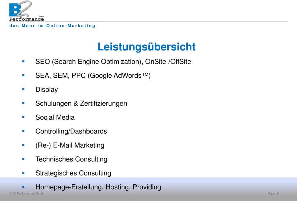 Media Controlling/Dashboards (Re-) E-Mail Marketing Technisches
