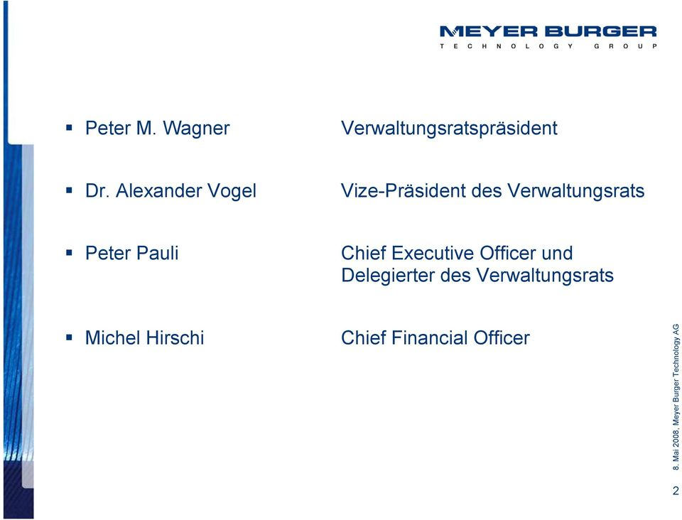Peter Pauli Chief Executive Officer und Delegierter