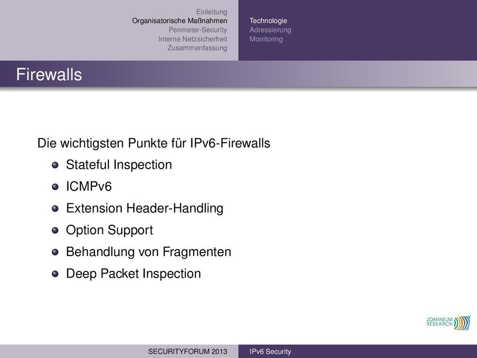 Inspection ICMPv6 Extension Header-Handling Option