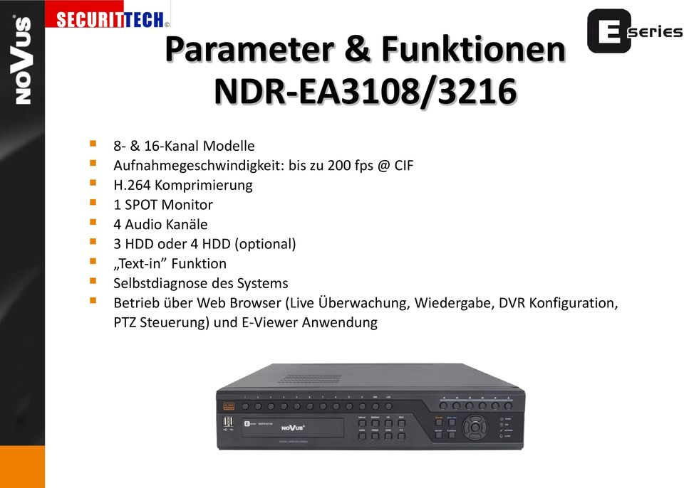 264 Komprimierung 1 SPOT Monitor 4 Audio Kanäle 3 HDD oder 4 HDD (optional) Text-in
