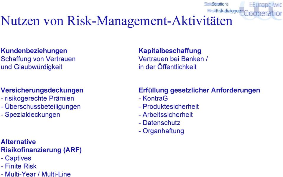 Überschussbeteiligungen - Spezialdeckungen Alternative Risikofinanzierung (ARF) - Captives - Finite Risk -