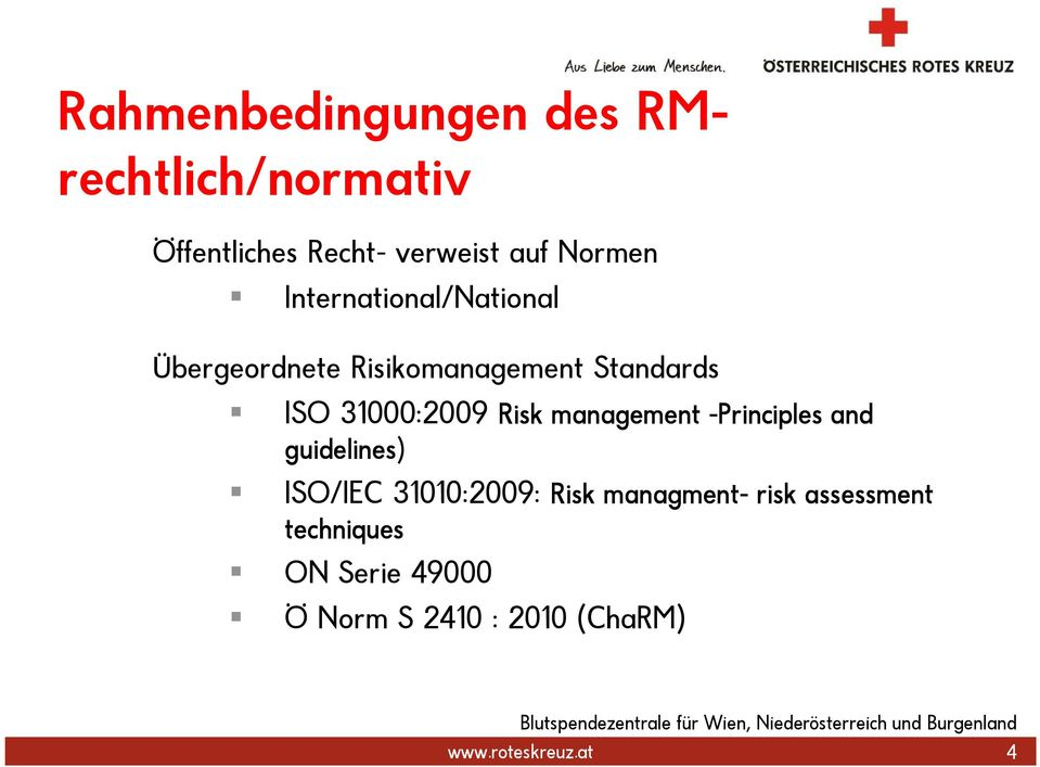 Risk management -Principles and guidelines) ISO/IEC 31010:2009: Risk managment-