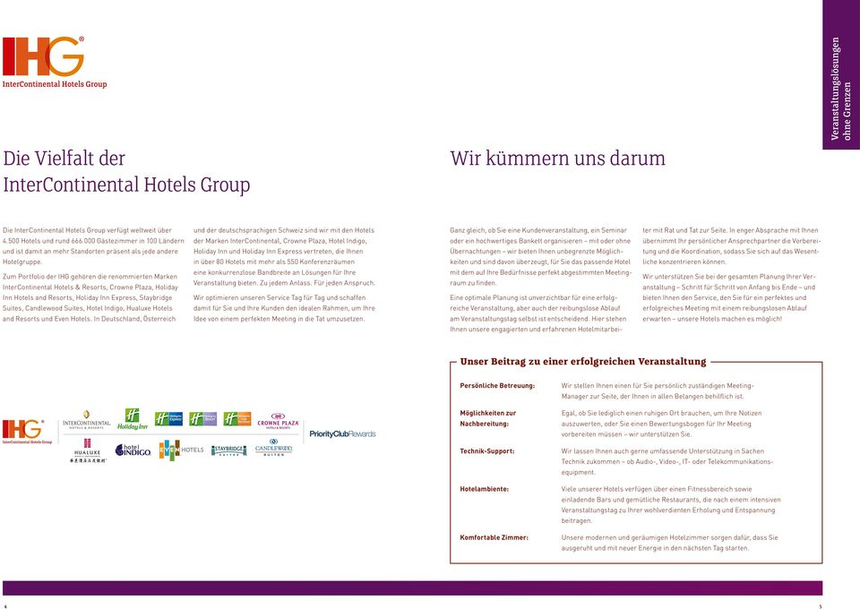 Zum Portfolio der IHG gehören die renommierten Marken InterContinental Hotels & Resorts, Crowne Plaza, Holiday Inn Hotels and Resorts, Holiday Inn Express, Staybridge Suites, Candlewood Suites, Hotel