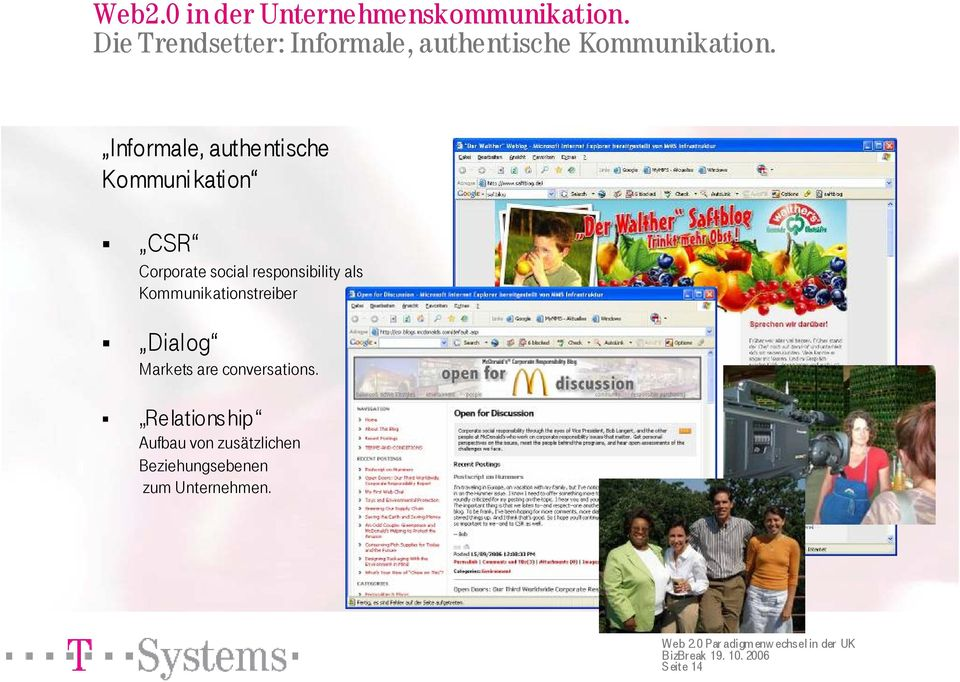 Informale, authentische Kommuni kation CSR Corporate social responsibility