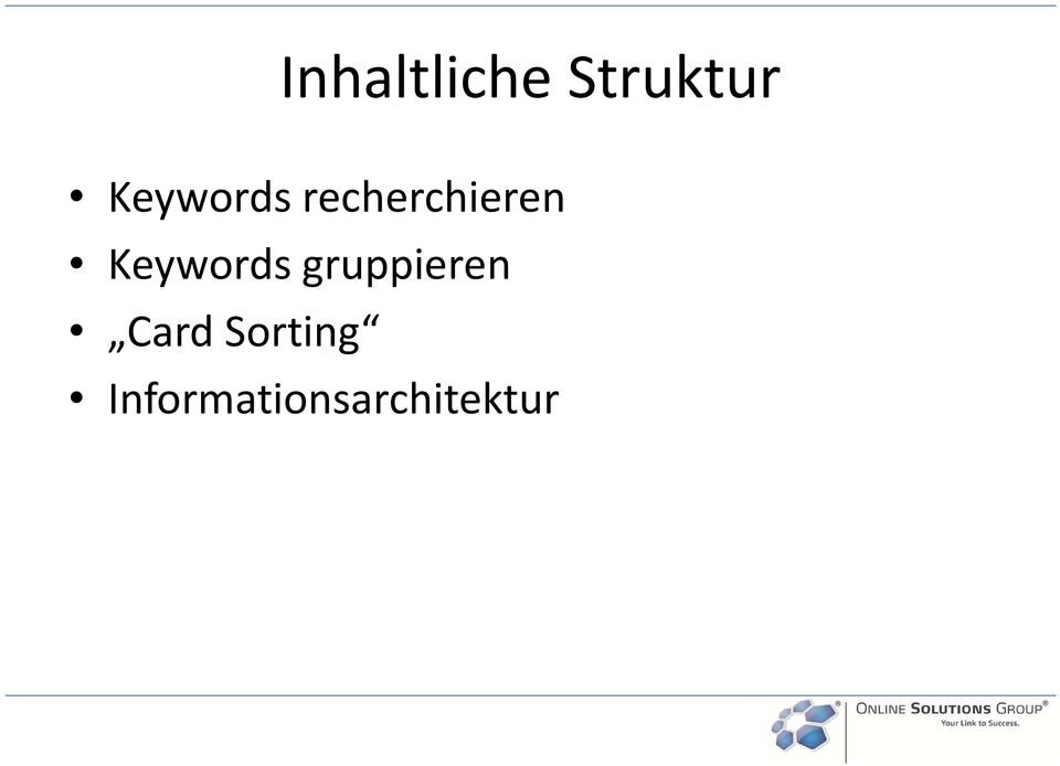 Keywords gruppieren Card