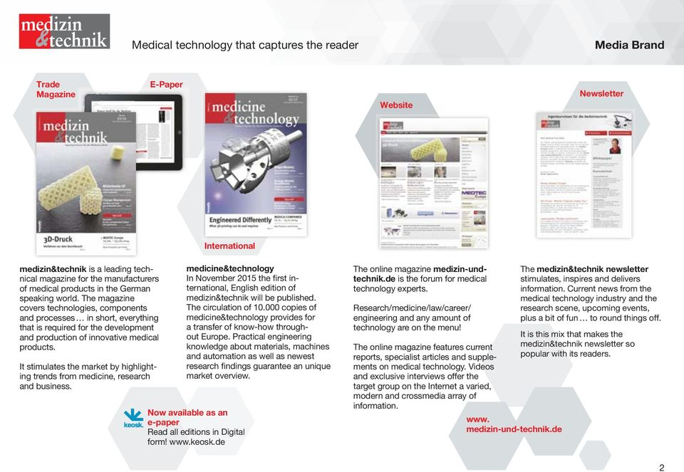 The magazine covers technologies, components and processes in short, everything that is required for the development and production of innovative medical products.