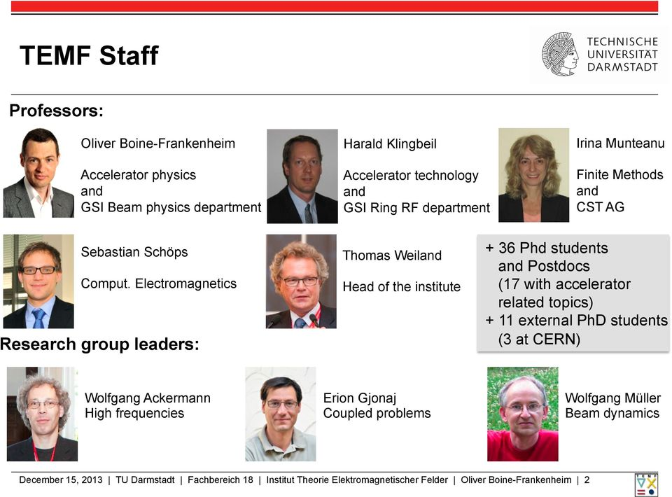 Electromagnetics Research group leaders: Thomas Weiland Head of the institute + 36 Phd students and Postdocs (17 with accelerator related topics) + 11