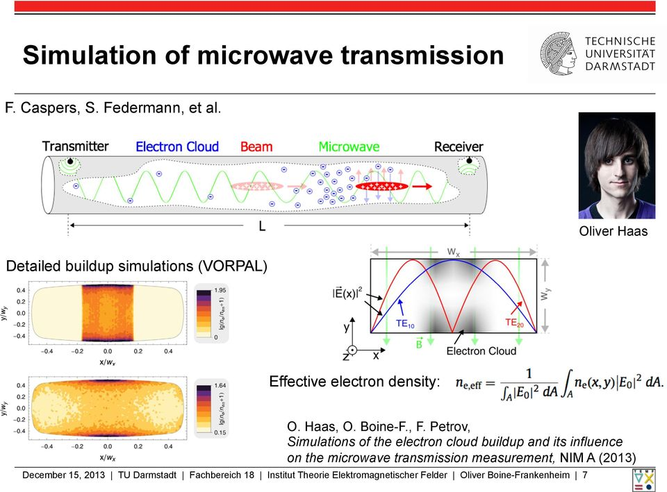 Petrov, Simulations of the electron cloud buildup and its influence on the microwave transmission