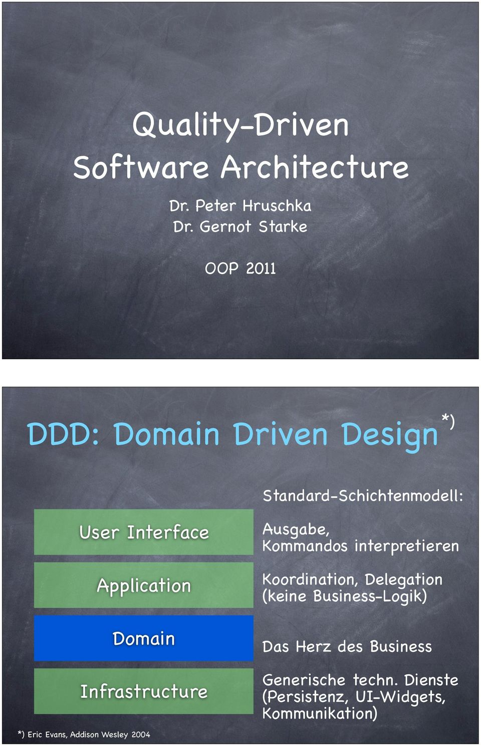 Application Domain Infrastructure *) Eric Evans, Addison Wesley 2004 Ausgabe, Kommandos