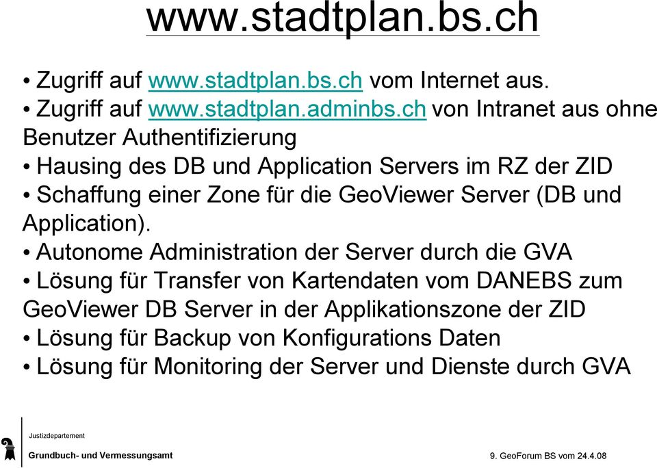 die GeoViewer Server (DB und Application).