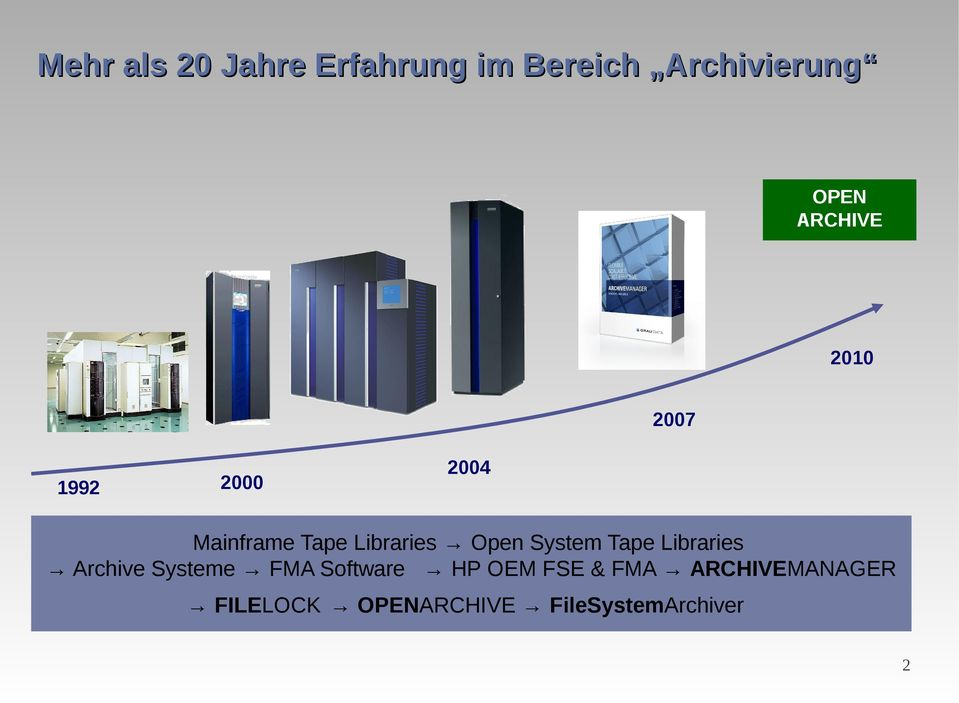 Open System Tape Libraries Archive Systeme FMA Software HP