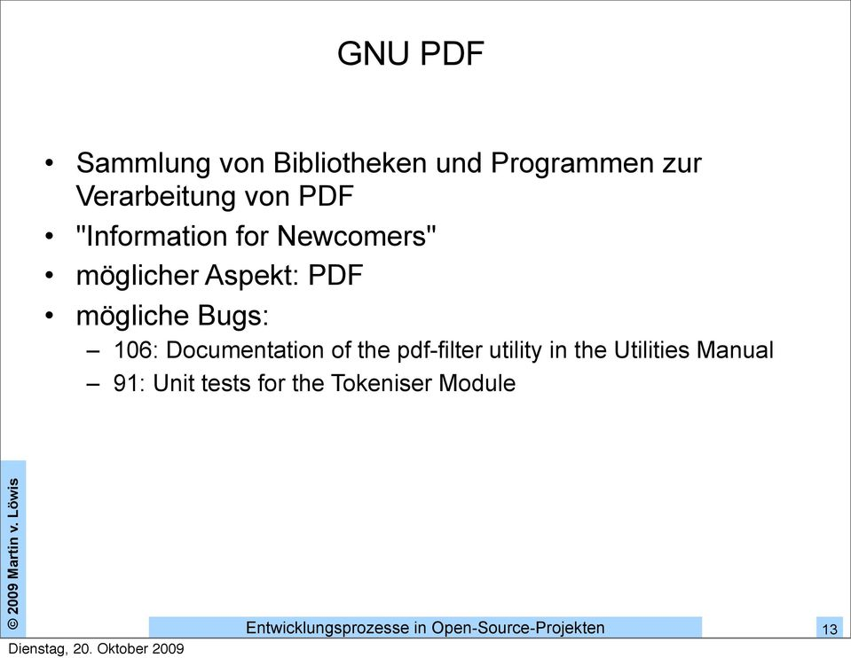Aspekt: PDF mögliche Bugs: 106: Documentation of the