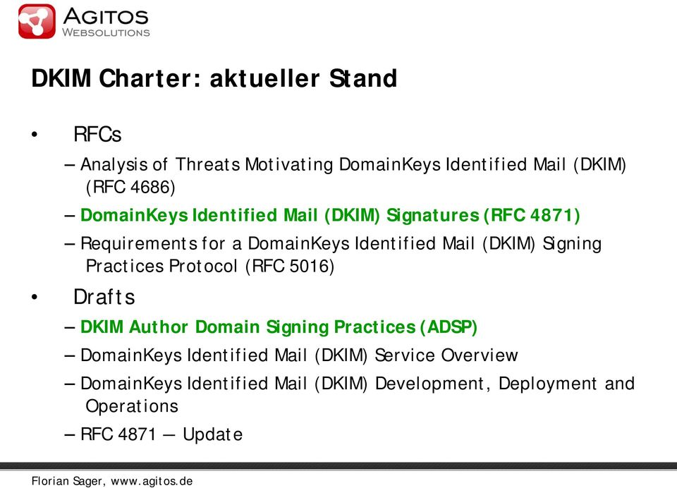 Signing Practices Protocol (RFC 5016) Drafts DKIM Author Domain Signing Practices (ADSP) DomainKeys Identified
