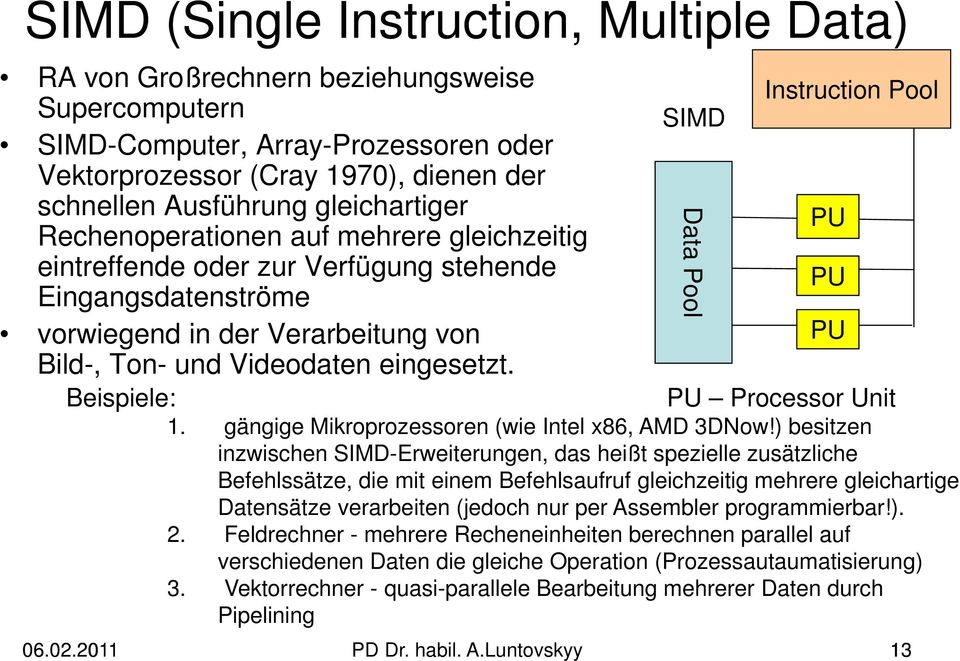 Beispiele: SIMD Instruction Pool PU Processor Unit 1. gängige Mikroprozessoren (wie Intel x86, AMD 3DNow!