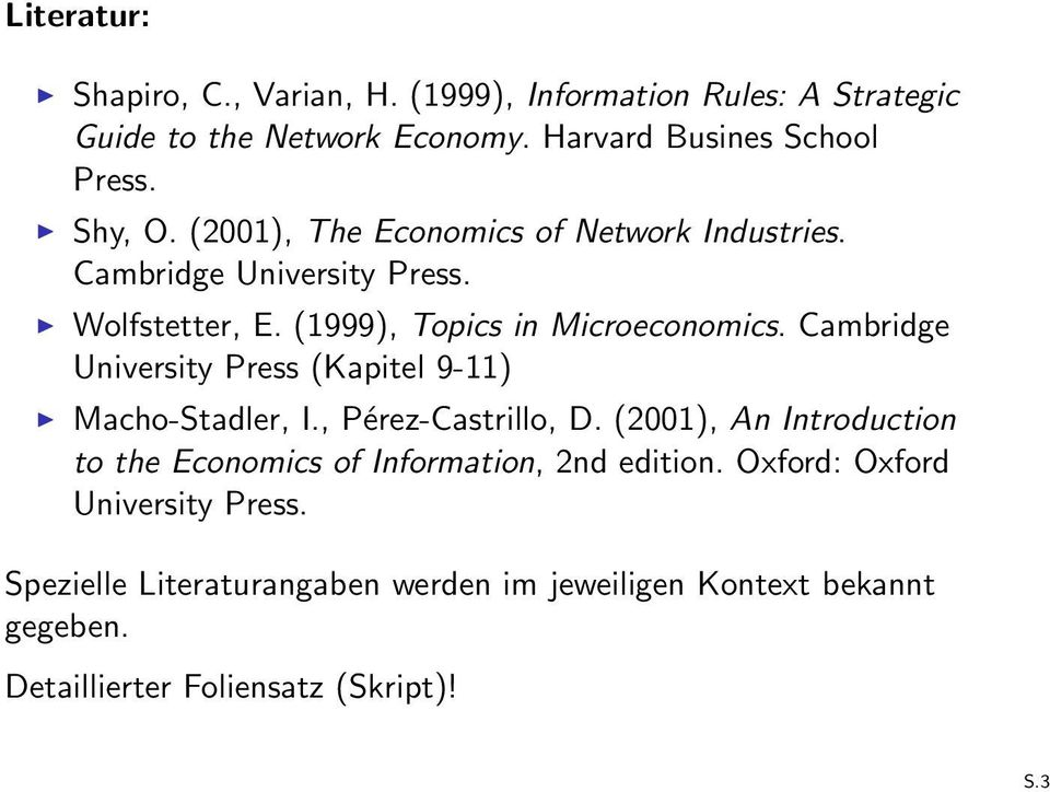 Cambridge University Press (Kapitel 9-11) Macho-Stadler, I., Pérez-Castrillo, D.