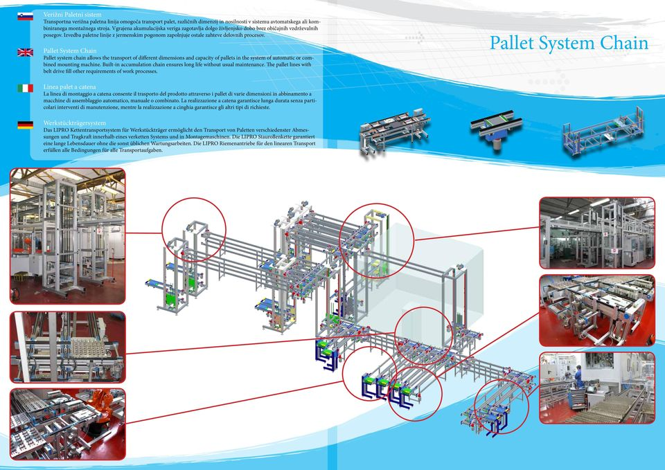 Pallet System Chain Pallet system chain allows the transport of different dimensions and capacity of pallets in the system of automatic or combined mounting machine.