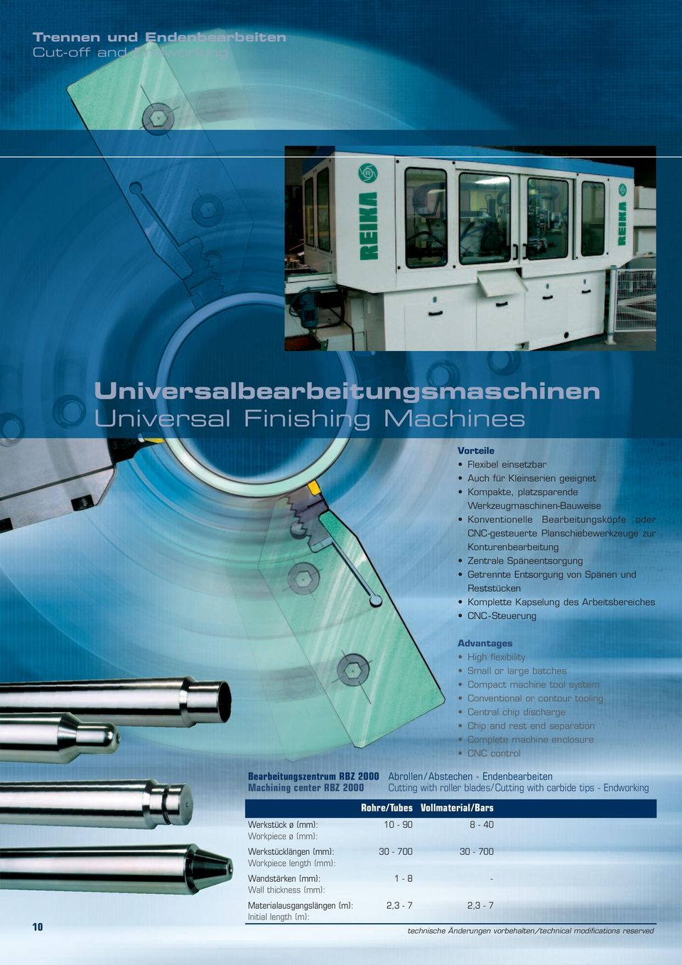 Komplette Kapselung des Arbeitsbereiches CNC - Steuerung Advantages High flexibility Small or large batches Compact machine tool system Conventional or contour tooling Central chip discharge Chip and