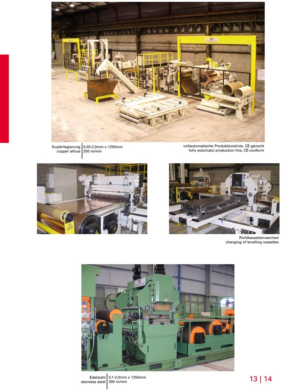 production line, CE-conform Richtkassettenwechsel changing of