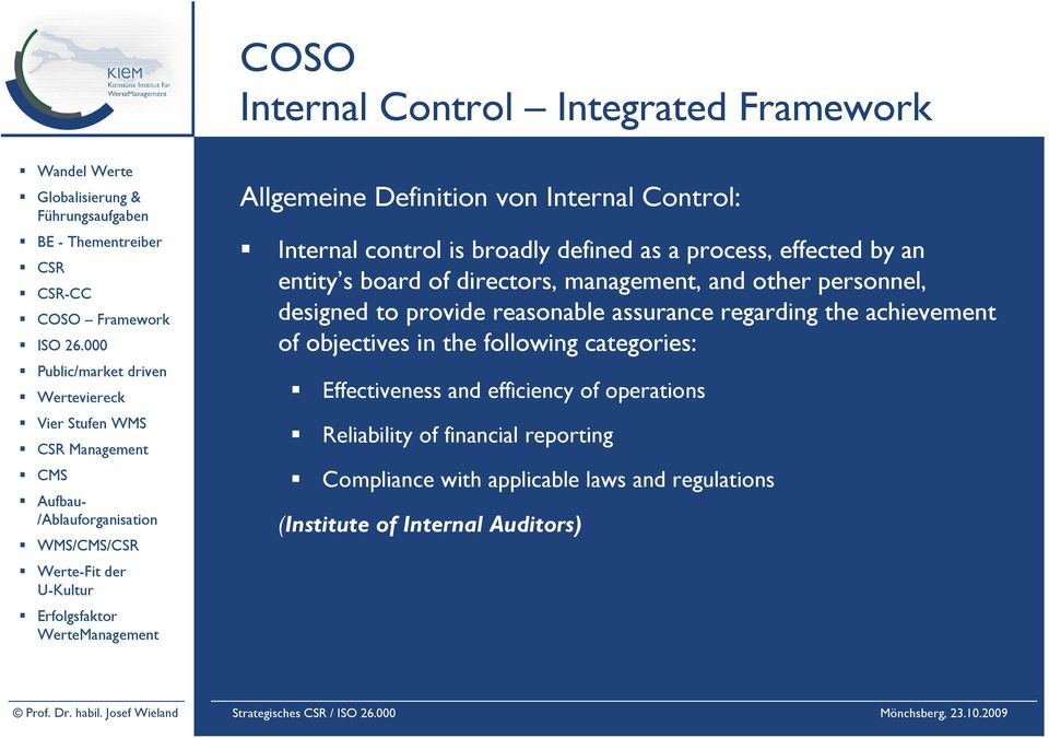 Definition von Internal Control: Internal control is broadly defined as a process, effected by an entity s board of directors, management, and other personnel, designed to provide