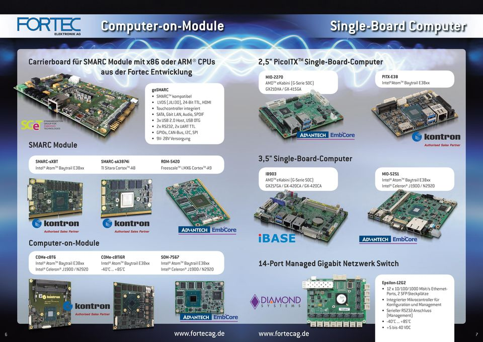 "mx6 CortexTM-A9 Single-Board Computer 2,5"" PicoITX TM Single-Board-Computer MIO-2270 AMDTM ekabini (G-Serie SOC) GX210HA / GX-415GA PITX-E38 Intel AtomTM Baytrail E38xx 3,5"" Single-Board-Computer"