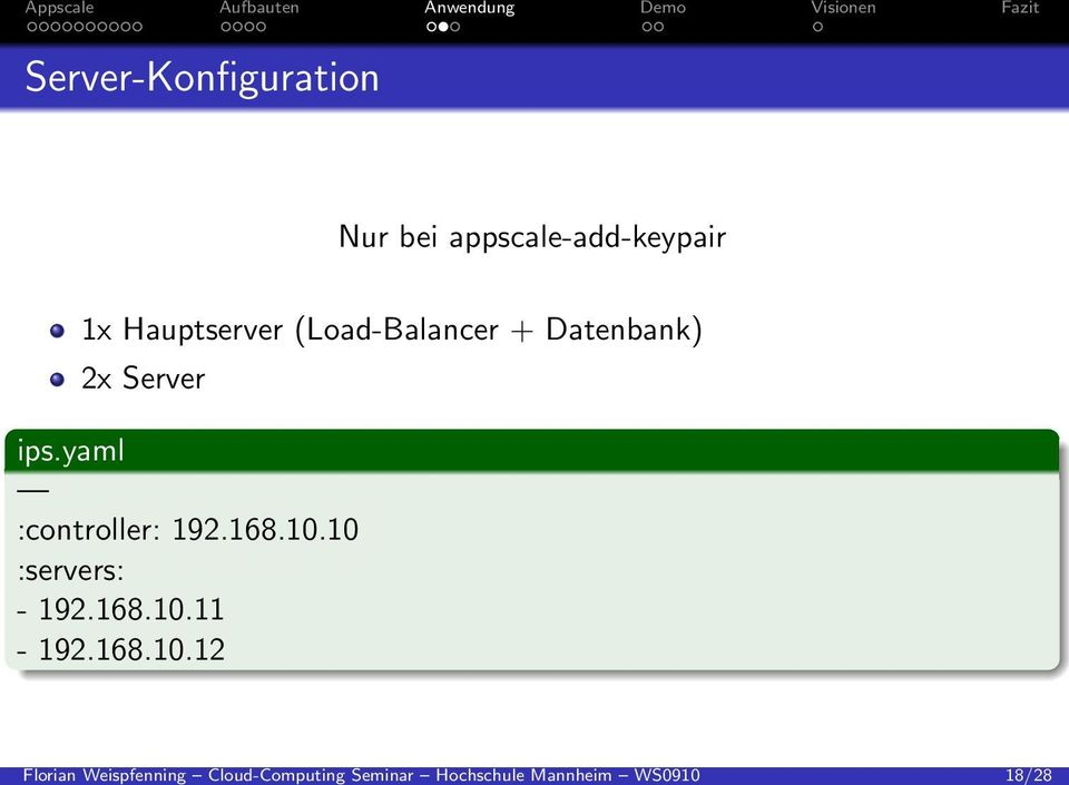 appscale-add-keypair 1x Hauptserver (Load-Balancer + Datenbank)