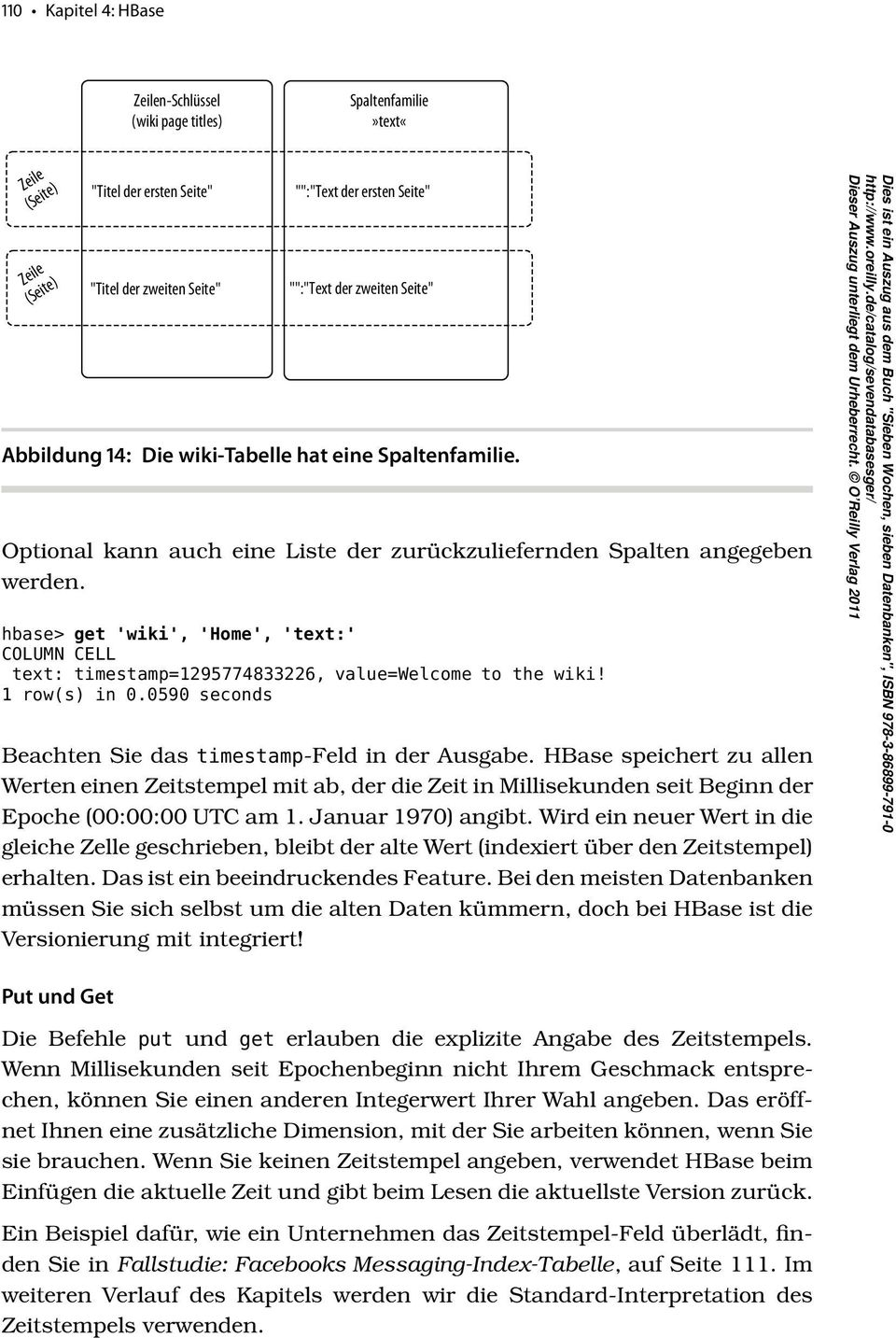 hbase> get 'wiki', 'Home', 'text:' COLUMN CELL text: timestamp=1295774833226, value=welcome to the wiki! 1 row(s) in 0.0590 seconds Beachten Sie das timestamp-feld in der Ausgabe.