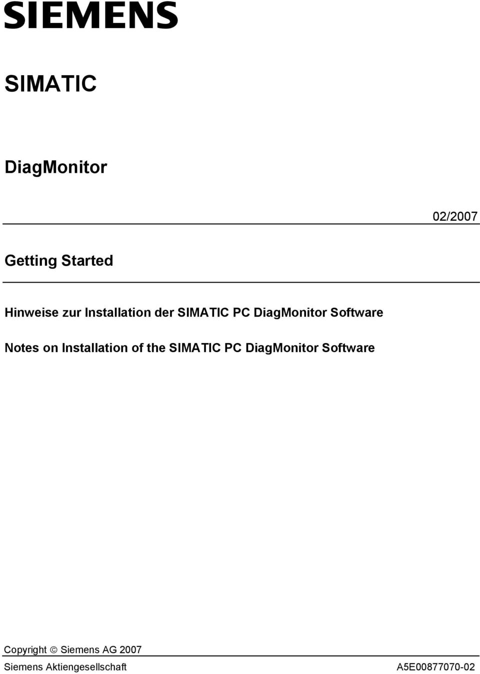 Installation of the SIMATIC PC DiagMonitor Software