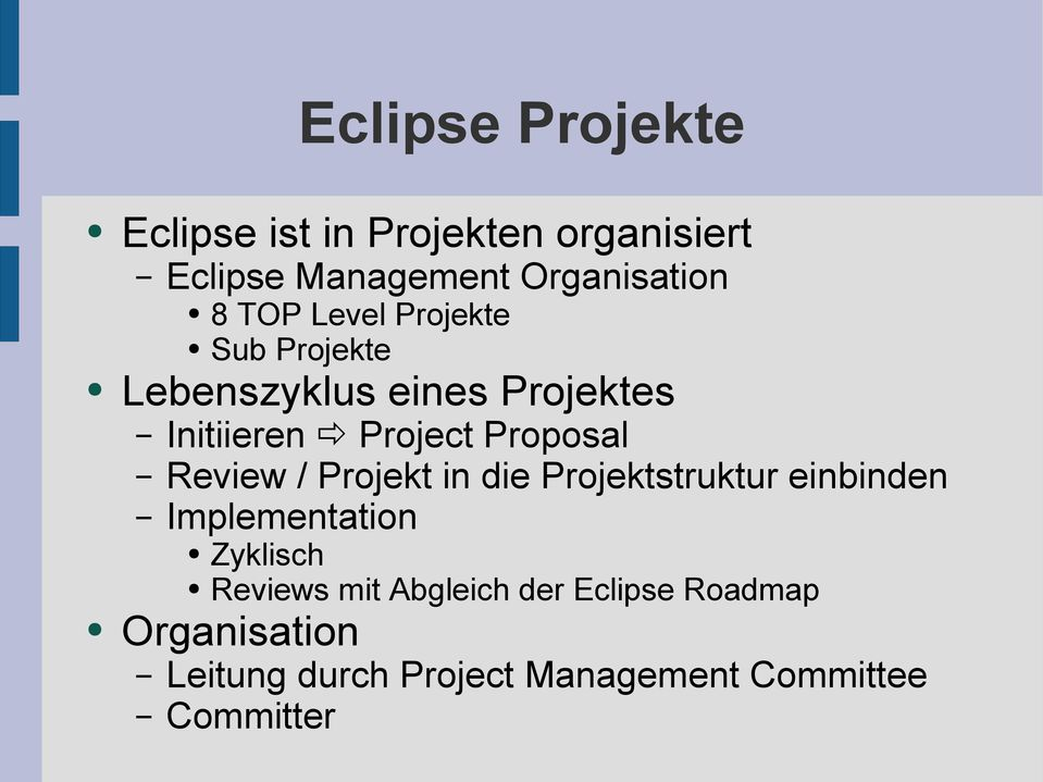 Review / Projekt in die Projektstruktur einbinden Implementation Zyklisch Reviews mit